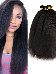 cheap -4 Bundles Malaysian Hair Yaki Human Hair Natural Color Hair Weaves / Hair Bulk Bundle Hair One Pack Solution 8-28 inch Natural Color Human Hair Weaves Best Quality For Black Women 100% Virgin Human