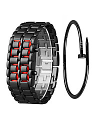 cheap -Couple's Sport Watch Digital Gift Set Stainless Steel Black / Silver Chronograph LCD Cool Digital Vintage Bangle - Black / Blue Black / Red Silver / Blue One Year Battery Life