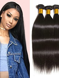 cheap -3 Bundles Peruvian Hair Straight Remy Human Hair 300 g Natural Color Hair Weaves / Hair Bulk Extension Bundle Hair 8-28 inch Natural Natural Color Natural Black Human Hair Weaves Silky Smooth Best