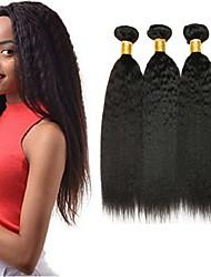 cheap -3 Bundles Yaki Straight Human Hair Unprocessed Human Hair Natural Color Hair Weaves / Hair Bulk Bundle Hair One Pack Solution 8-28 inch Natural Color Human Hair Weaves Newborn Cosplay Easy dressing