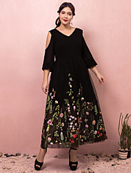 cheap -A-Line Plus Size Black Holiday Prom Dress V Neck Long Sleeve Ankle Length Lace Satin Tulle with Pearls Appliques 2020
