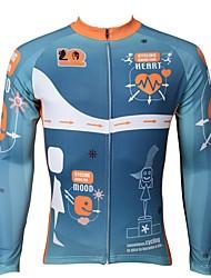 cheap -ILPALADINO Men's Long Sleeve Cycling Jersey Sky Blue Bike Jersey Top Mountain Bike MTB Road Bike Cycling Thermal / Warm Fleece Lining Ultraviolet Resistant Sports Winter Elastane Fleece Clothing
