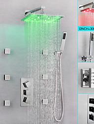 cheap -Shower Faucet / Bathroom Sink Faucet - Contemporary Chrome Wall Mounted Brass Valve Bath Shower Mixer Taps