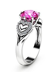 cheap -Women's Ring Cubic Zirconia 1pc Silver Copper Platinum Plated Imitation Diamond Ladies Unique Design Romantic Gift Date Jewelry Solitaire Heart Heart