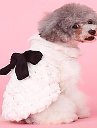 cheap -Dogs Cats Coat Fleece Coat Winter Dog Clothes Beige Costume Corgi Pekingese Shih Tzu Plush Solid Colored Bowknot Stylish Bow S M L