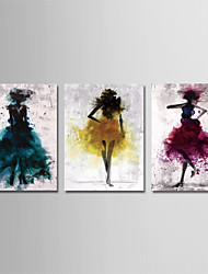 cheap -Print Stretched Canvas Prints - Abstract People Modern Three Panels Art Prints