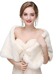 cheap -Sleeveless Shawls Faux Fur Wedding / Party / Evening Women's Wrap With Solid / Fur