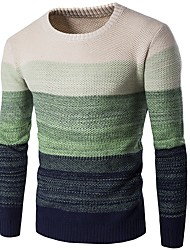 cheap -Men's Daily / Going out Basic Color Block Long Sleeve Slim Long Pullover Sweater Jumper, Round Neck Fall / Winter Wine / Blue / Green M / L / XL
