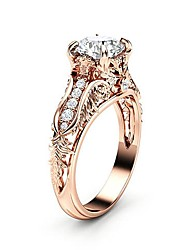 cheap -Women's Ring AAA Cubic Zirconia 1pc Rose Gold Silver Copper Platinum Plated Rose Gold Plated Four Prongs Ladies Trendy Korean Wedding Party Jewelry Hollow Out Round Cut Pave Flower Petal Lovely