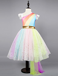 cheap -Kids Toddler Girls' Active Sweet Party Holiday Unicorn Rainbow Sleeveless Asymmetrical Dress Rainbow