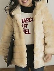 cheap -Kids Girls' Basic Solid Colored Long Sleeve Faux Fur Suit & Blazer Black