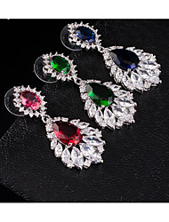 cheap -Women's Multicolor AAA Cubic Zirconia Dangle Earrings Beaded Pear Ladies Stylish Dangling Elegant Rhinestone Earrings Jewelry Fuchsia / Green / Blue For Wedding Evening Party Masquerade Engagement