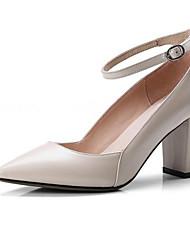 cheap -Women's Heels Chunky Heel Sheepskin Winter Black / Almond / Pink / Daily