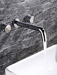 cheap -Bathroom Sink Faucet - New Design Chrome Wall Installation Two Handles Three HolesBath Taps
