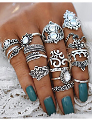 cheap -Women's Statement Ring Ring Set Midi Rings Crystal 16pcs Silver Alloy Geometric Hamsa Hand Statement Ladies Unusual Evening Party Masquerade Jewelry Vintage Style Heart Flower Crown Cool Lovely