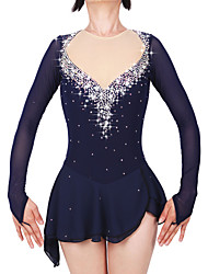 cheap -21Grams Figure Skating Dress Women's Girls' Ice Skating Dress Dark Blue Open Back Asymmetric Hem Spandex Stretch Yarn High Elasticity Professional Competition Skating Wear Handmade Fashion Long Sleeve