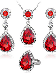 cheap -Women's White Sapphire Crystal Bridal Jewelry Sets Classic two stone Drop Ladies Fashion Elegant Earrings Jewelry Red / Green / Blue For Wedding Party Masquerade Engagement Party Prom Promise 1 set