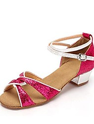 cheap -Girls' Dance Shoes Synthetics Latin Shoes Paillette Sandal Thick Heel Customizable Gold / Fuchsia / Silver / Performance / Leather / Practice
