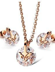 cheap -Women's Clear Diamond Cubic Zirconia Stud Earrings Pendant Necklace Trace Fox Ladies Stylish Sweet Elegant Rhinestone Titanium Steel Earrings Jewelry Pink For Gift Date 1 set