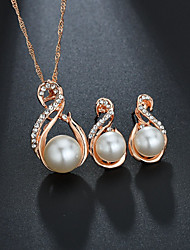 cheap -Women's Bridal Jewelry Sets Classic Elegant Sweet Imitation Pearl Rhinestone Earrings Jewelry Gold / Silver For Wedding Birthday 1 set