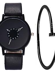 cheap -Men's Wrist Watch Quartz Gift Set Leather Black / White Chronograph Creative New Design Analog Fashion Minimalist - White Black Black / White One Year Battery Life