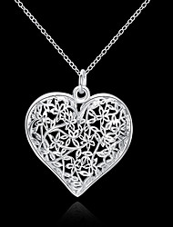 cheap -Women's Pendant Necklace Hollow Heart Love Hollow Heart Ladies Floral Fashion 3D S925 Sterling Silver Silver 45 cm Necklace Jewelry 1pc For Wedding Party Daily Casual
