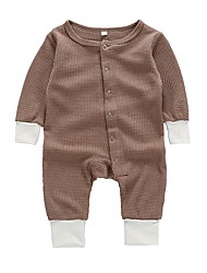 cheap -Baby Boys' Active / Basic Daily / Sports Solid Colored Long Sleeve Cotton Romper Brown / Toddler