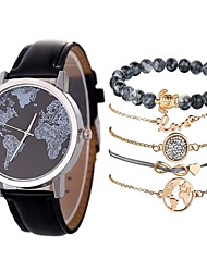 cheap -Couple's Wrist Watch Quartz Gift Set Leather Black / Silver / Orange Chronograph Creative Cool Analog Minimalist Fashion - Black Black / Orange Blue One Year Battery Life