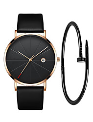cheap -Men's Wrist Watch Quartz Quilted PU Leather Black 30 m Water Resistant / Waterproof Calendar / date / day Analog Casual Fashion - Black Silver Rose Gold One Year Battery Life