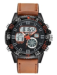 cheap -Men's Sport Watch Digital Watch Digital Leather Black / Brown Calendar / date / day Dual Time Zones Noctilucent Analog - Digital Casual - Red Blue Black / Yellow