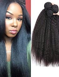 cheap -3 Bundles Yaki Straight Human Hair Unprocessed Human Hair 150 g Natural Color Hair Weaves / Hair Bulk Bundle Hair One Pack Solution 8-28 inch Natural Color Human Hair Weaves Newborn Cosplay Easy / 8A