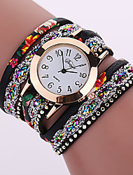 cheap -Women's Bracelet Watch Quartz Wrap Leather Black / White / Red Casual Watch Analog Fashion Colorful - Black White Fuchsia One Year Battery Life / Tianqiu 377