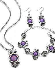 cheap -Women's Gemstone Chain Bracelet Drop Earrings Necklace Vintage Style Owl Ladies Stylish European Silver Plated Earrings Jewelry Purple / Red / Blue For Gift Daily