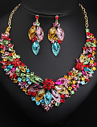 cheap -Women's Multicolor AAA Cubic Zirconia Drop Earrings Bib necklace Vintage Style Flower Rainbow Ladies Stylish Luxury Romantic Elegant Color Rhinestone Earrings Jewelry Purple / Rainbow / Champagne For