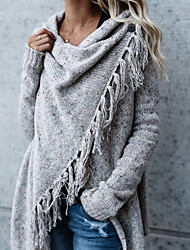 cheap -Women's Daily / Weekend Street chic Tassel Solid Colored Long Sleeve Long Cardigan Sweater Jumper, V Neck Fall / Winter Dark Gray / Gray S / M / L