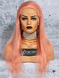 cheap -Virgin Human Hair Full Lace Wig Deep Parting With Ponytail Kardashian style Brazilian Hair Silky Straight Pink Wig 150% Density 12-24 inch with Baby Hair Smooth Best Quality Hot Sale Thick Women's