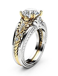 cheap -Women's Ring Diamond Cubic Zirconia tiny diamond 1pc Silver Copper Platinum Plated Imitation Diamond Four Prongs Ladies Unique Design Gothic Wedding Party Jewelry Two tone Double Layered Flower Lovely