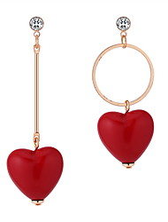 cheap -Women's Drop Earrings Mismatched Heart Ladies Korean Sweet Cute Rhinestone Earrings Jewelry Red For Causal Going out 1 Pair