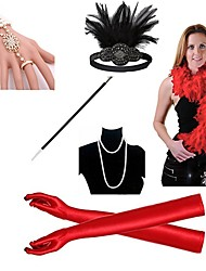 cheap -The Great Gatsby Charleston Vintage 1920s Costume Accessory Sets Gloves Necklace Flapper Headband Women's Feather Costume Head Jewelry Pearl Necklace Black / Golden / White Vintage Cosplay Sleeveless