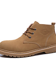 cheap -Men's Combat Boots PU Fall / Winter Casual Boots Walking Shoes Non-slipping Brown / Beige / Outdoor