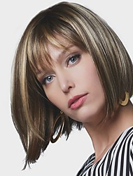 cheap -Synthetic Wig Straight Bob Wig Short Brown Synthetic Hair 8 inch Women's Synthetic Dark Brown Gold Blonde Ombre