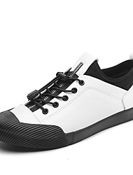 cheap -Men's Leather Shoes Nappa Leather / PU Spring & Summer / Fall & Winter British / Preppy Sneakers Walking Shoes Black / White / Silver