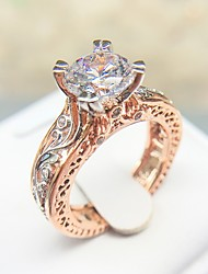 cheap -Statement Ring AAA Cubic Zirconia Cut Out White Copper Platinum Plated Rose Gold Plated Totem Series Petal Ladies Unique Design Aristocrat Lolita 1pc 6 7 8 9 10 / Women's / Imitation Diamond