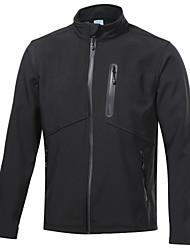 cheap -Men's Hiking Jacket Hiking Softshell Jacket Outdoor Waterproof Windproof Fleece Lining Front Zipper Fall Winter Fleece Softshell Winter Fleece Jacket Top Camping / Hiking Fishing Climbing Black XL
