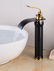 cheap -Bathroom Sink Faucet - Waterfall Gold / Black Centerset Single Handle One HoleBath Taps