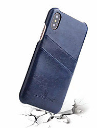 cheap -Case For Apple iPhone X Card Holder Back Cover Solid Colored Hard Genuine Leather