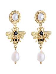 cheap -Women's Pearl Drop Earrings Classic Bee Ladies Stylish European Pearl Rhinestone Gold Plated Earrings Jewelry Gold For Daily 1 Pair