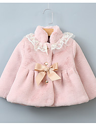 cheap -Toddler Girls' Basic Solid Colored Long Sleeve Rabbit Fur Suit & Blazer Blushing Pink
