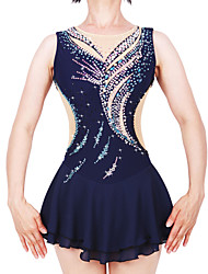 cheap -21Grams Figure Skating Dress Women's Girls' Ice Skating Dress Dark Blue Spandex Stretch Yarn High Elasticity Professional Competition Skating Wear Handmade Fashion Sleeveless Ice Skating Winter