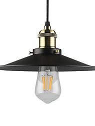 Недорогие -старинный черный металлический оттенок подвесные светильники 1-свет гостиная столовая прихожая подвесной светильник диаметр 26 см